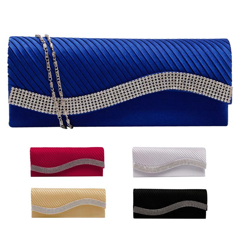 Wholesale- Fashion Women Satin Rhinestone Handbags Wedding Clutch Purse Evening Party Bag