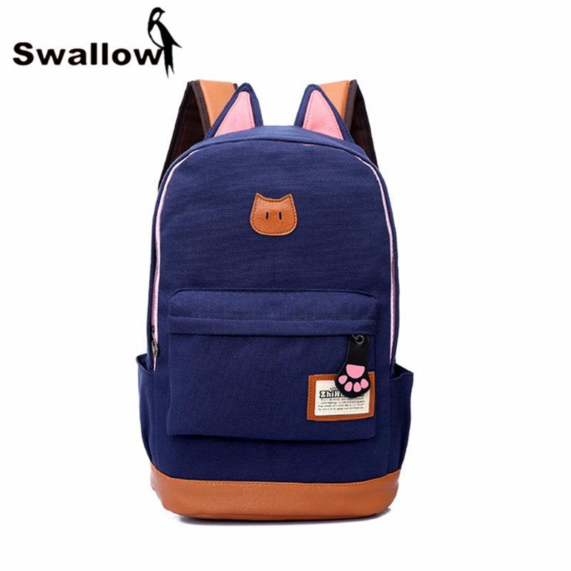 7eaa07560cdf Wholesale- Lovely Cat Ear Canvas School Bags For Teenagers Girls ...