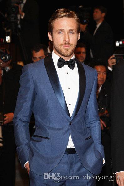 2017 Men Formal Dress Suits Fashion Blue Navy Business Suit Men ...
