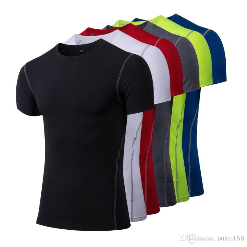 new concept ac366 9595f Hot Men s T-shirt Compression Fitness Tights Blank Football Tops World Cup  Jersey Wholesale Cheap 2018