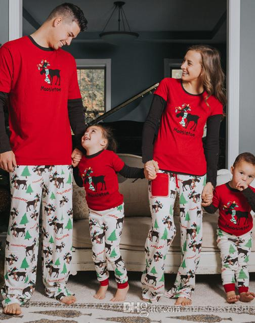 New Xmas Family Matching Outfits Christmas scarf reindeer red Pajamas set Pyjamas Sleepwear Mother Kids Daddy Son Homewear