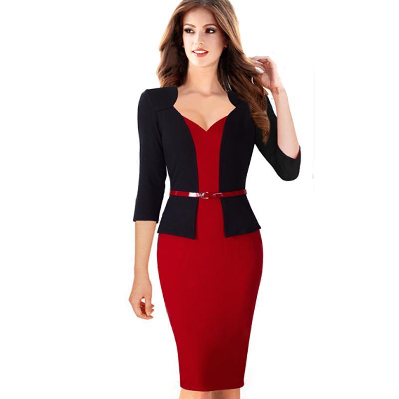 ef9c60bbc Compre Mujeres Otoño Elegante Formal Vaina Negocios Oficina Vestido De  Lápiz Chaqueta Falsa Con Cinturón Vestidos De Una Pieza B328 A  55.48 Del  Winkiya ...