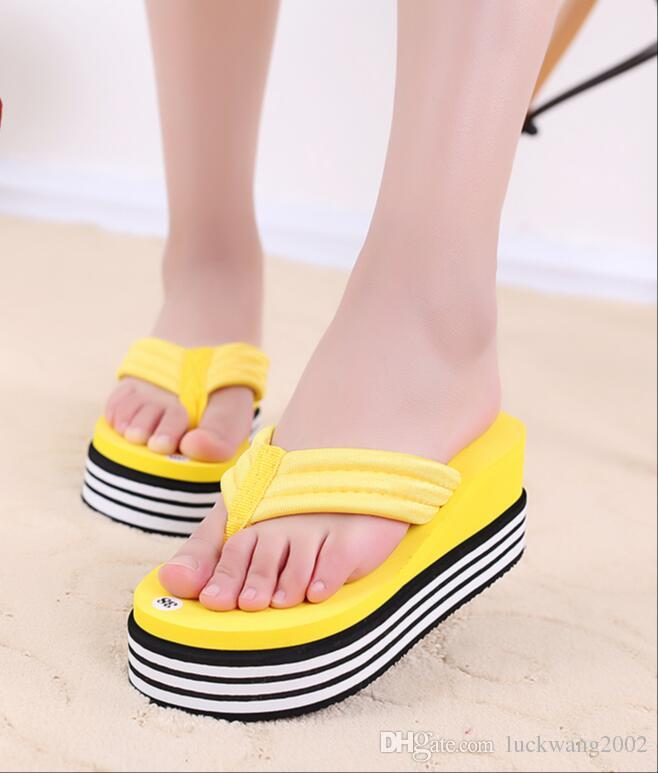 2017 Summer Shoes For Women Stretch Fabric Eva Flip Flops Beach ...