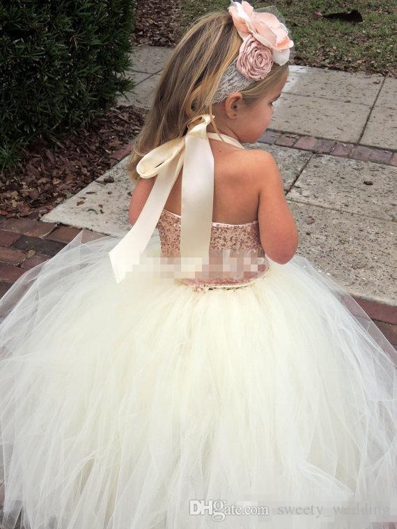 Cute Ivory Flower Girl Dresses 2017 Bling Rose Gold Sequin Halter Tutu Floor Length Ball Gown Cheap Custom Made Little Girls Pageant Dresses