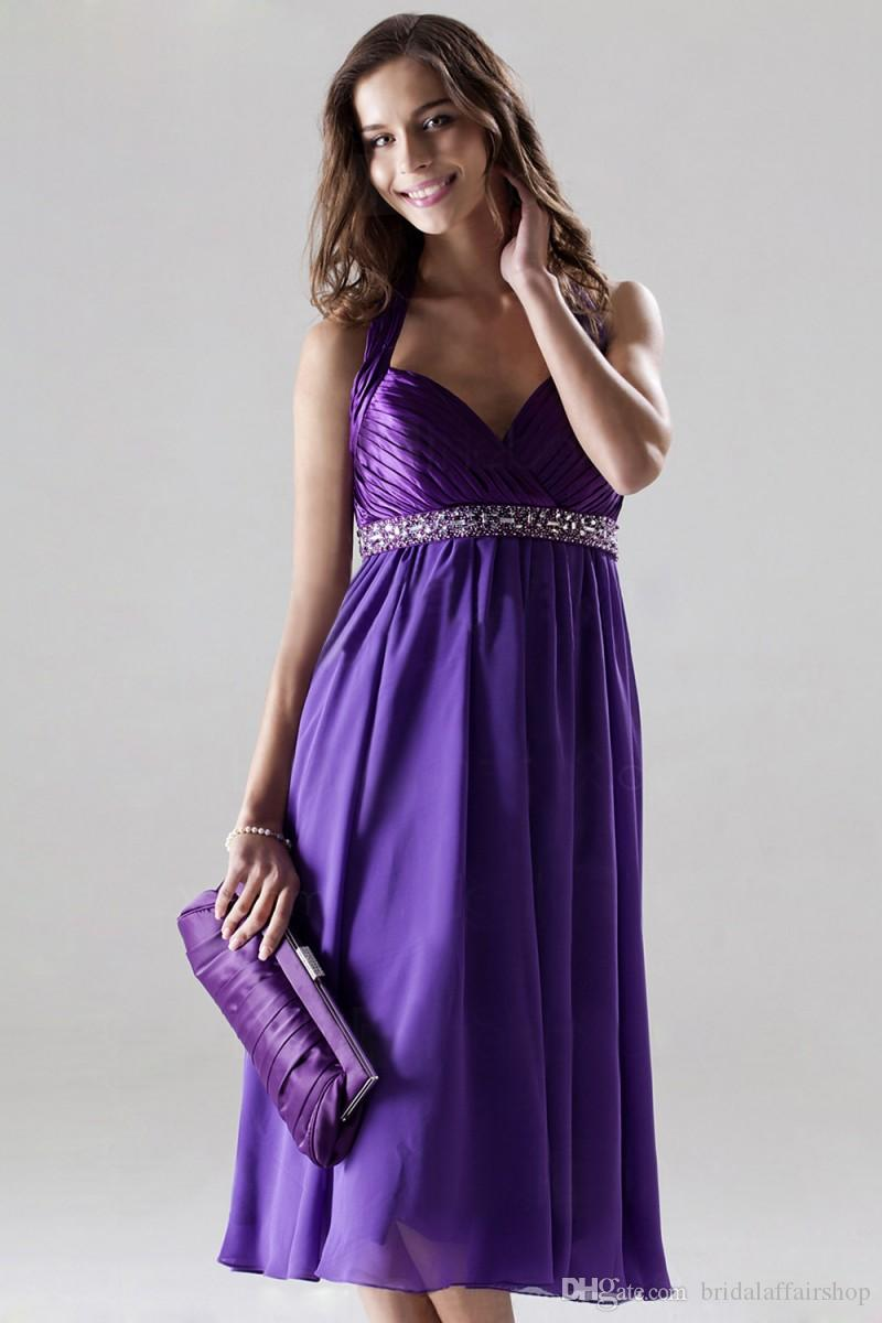 2019 New Arrival A-Line Halter Short Mini With Ruffle Backless beaded Sash Formal Evening Dress Bridesmaid Prom Gowns