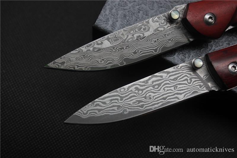 L'alta qualità tattica manico del coltello pieghevole di Damasco legno lama in acciaio 59HRC tasca di campeggio di sopravvivenza di utilità esterna lama del regalo di Natale gli uomini