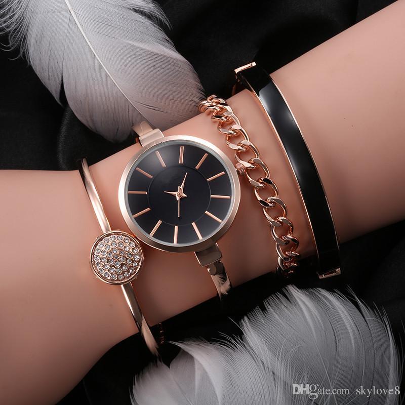 NOUVEAU Luxe Diamant Femmes Robe Montres Multi-Couleur Montre-Bracelet + 3 Bracelets Ensemble Bijoux Boucle Quartz Partie Mode Alliage Montre Casual