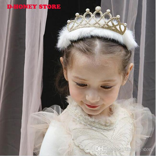 Christmas Flower Crown Hairbands Korean Baby Hair Clips Accessories Shiny Headdress Set Wool Hair Band Hairpins hairbands for hair