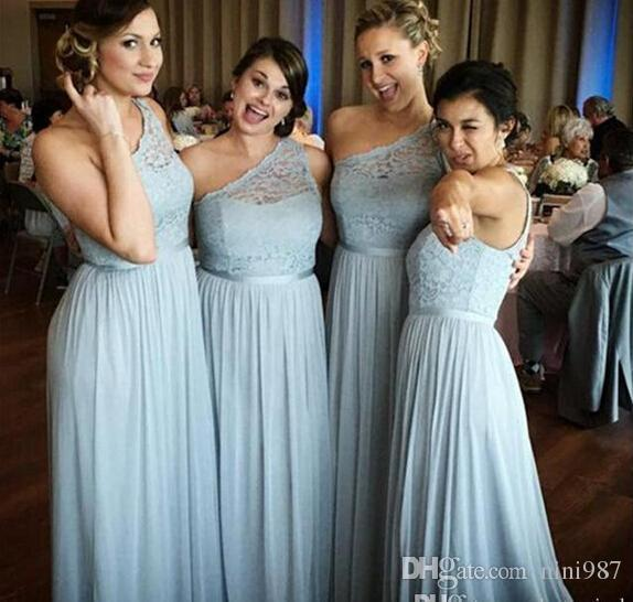 2020 new One Shoulder Chiffon Bridesmaid Dresses Lace Top Floor Length Maid Of Honor Gowns Cheap Long Prom Dresses Formal Evening Gowns
