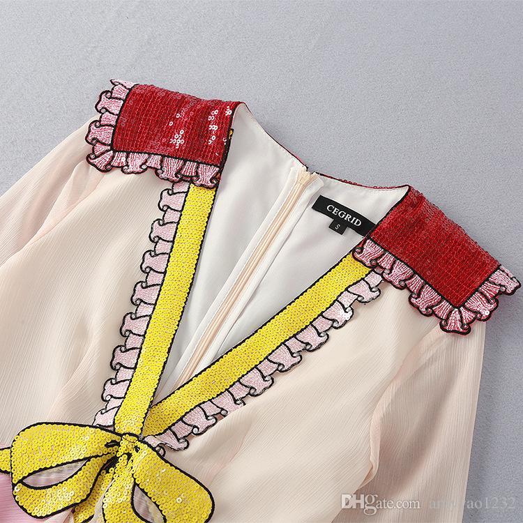 2017 Marca Mesmo Estilo Vestido Flora Impresso Verão Decote Em V Império Meados de Bezerro de Manga Longa Bordado Com Bordado Mulheres Vestido YL88