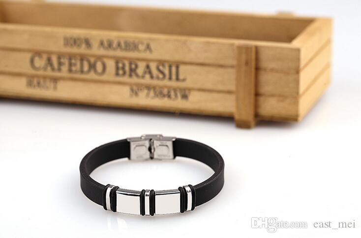 Activities souvenirs can be engraved DIY silicone titanium steel light bracelet FB372 a Slap & Snap Bracelets