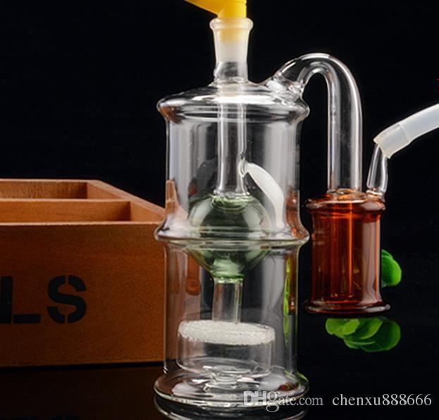 Çift katmanlı dilsiz çift filtre temizleyebilirsiniz cam nargile, göndermek pot aksesuarları, cam bongs, cam nargile, sigara, renk stili rastgele del
