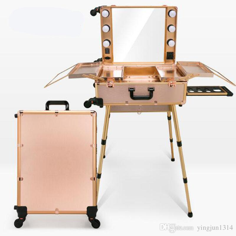 Makeup Artist Train Box With Led Lights Station Trolley
