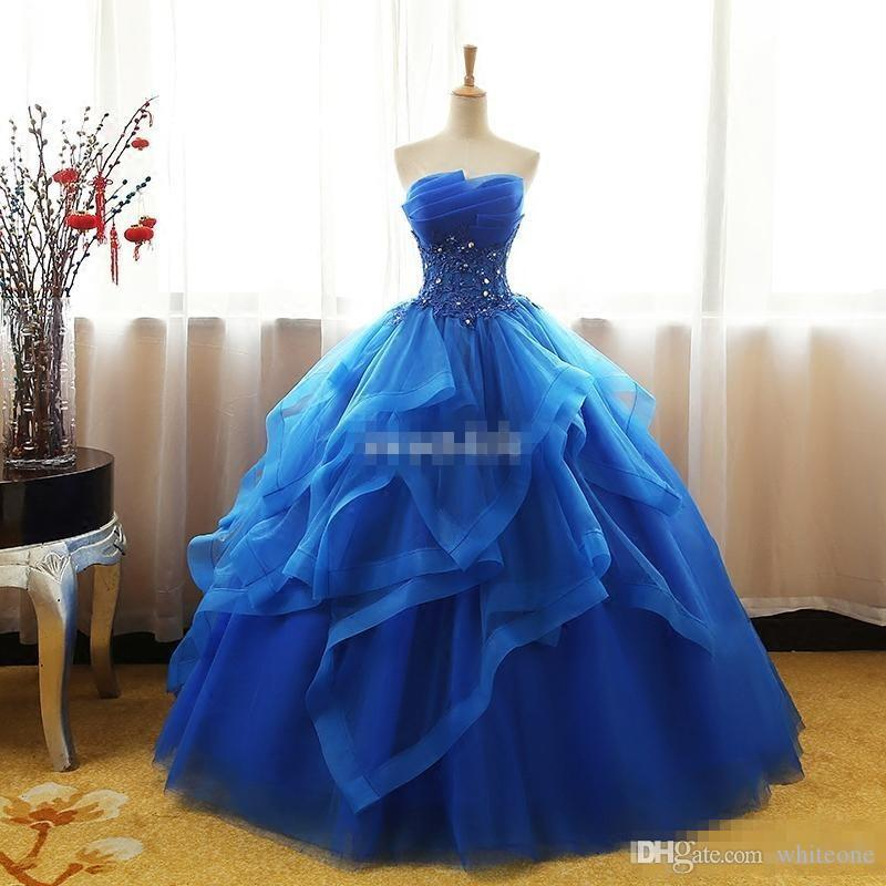 b5b3af8c046 Royal Blue 2017 Ball Gown Quinceanera Dresses Beaded Collar With Shining  Sequins Lace Up Sleeveless Empire Organza Tiered Skirts Prom Dress Neon  Quinceanera ...