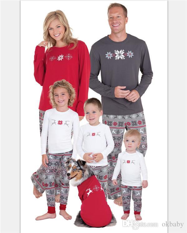 Perakende Aile noel pijama setleri kar tanesi Baskılı Aile Eşleşen Noel Nordic Pijama Aile için PJs Setleri