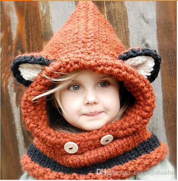 2016 Fox Baby Hats Autumn Winter Caps Kids Girls Boys Warm Woolen Knitted Coif Hood Scarf Beanies toddler christmas gifts 2-10 years old
