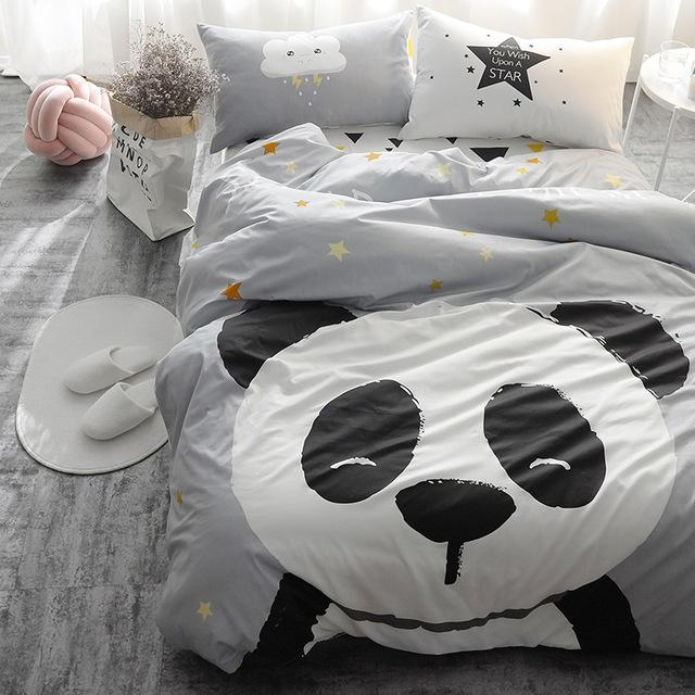 Panda Fox Bedding Set Black And White Duvet Cover Cartoon For Children/Kids  Queen King Bedclothes Bed Linen Bed Sheet California King Comforter Sets  Crib ...