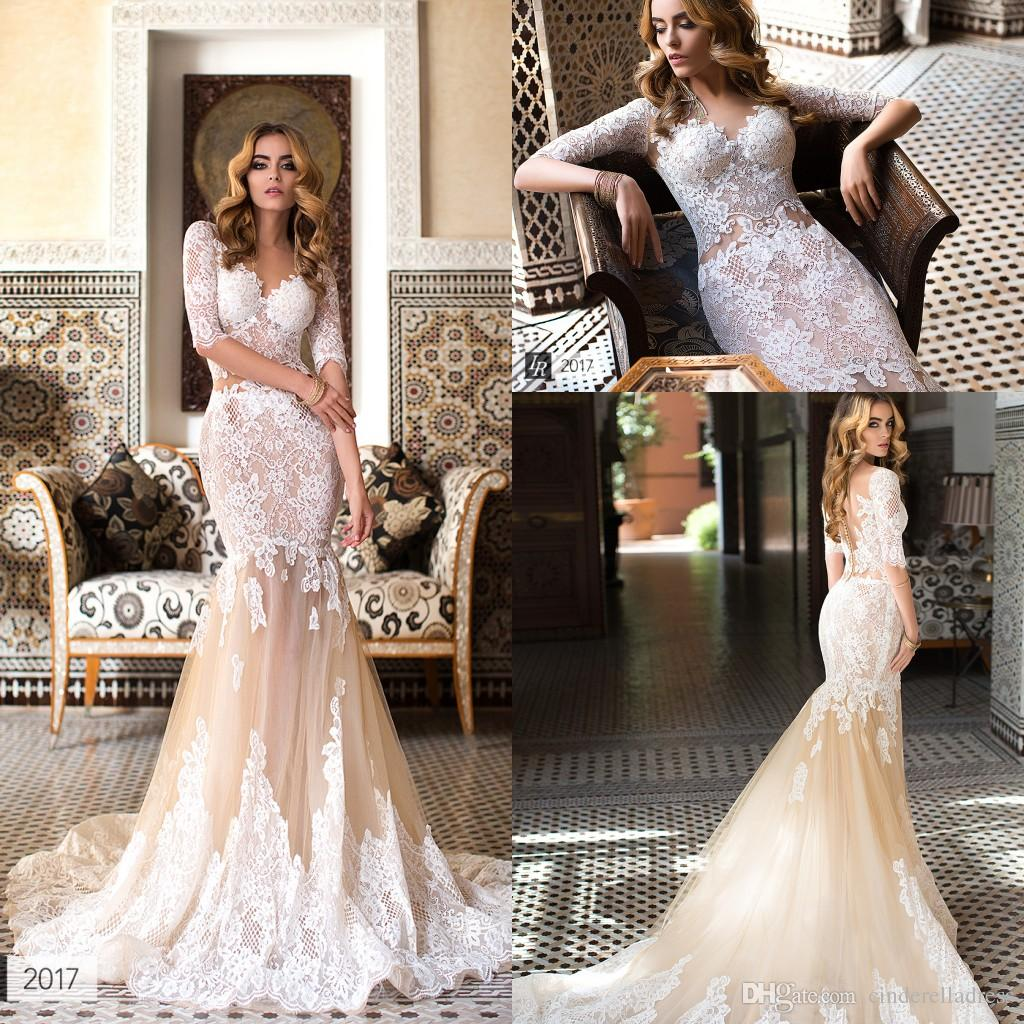 2017 lorenzo rossi champagne nude mermaid wedding dresses v neck 2017 lorenzo rossi champagne nude mermaid wedding dresses v neck full lace long sleeves backless bridal gowns with chapel train lorenzo rossi wedding ombrellifo Images