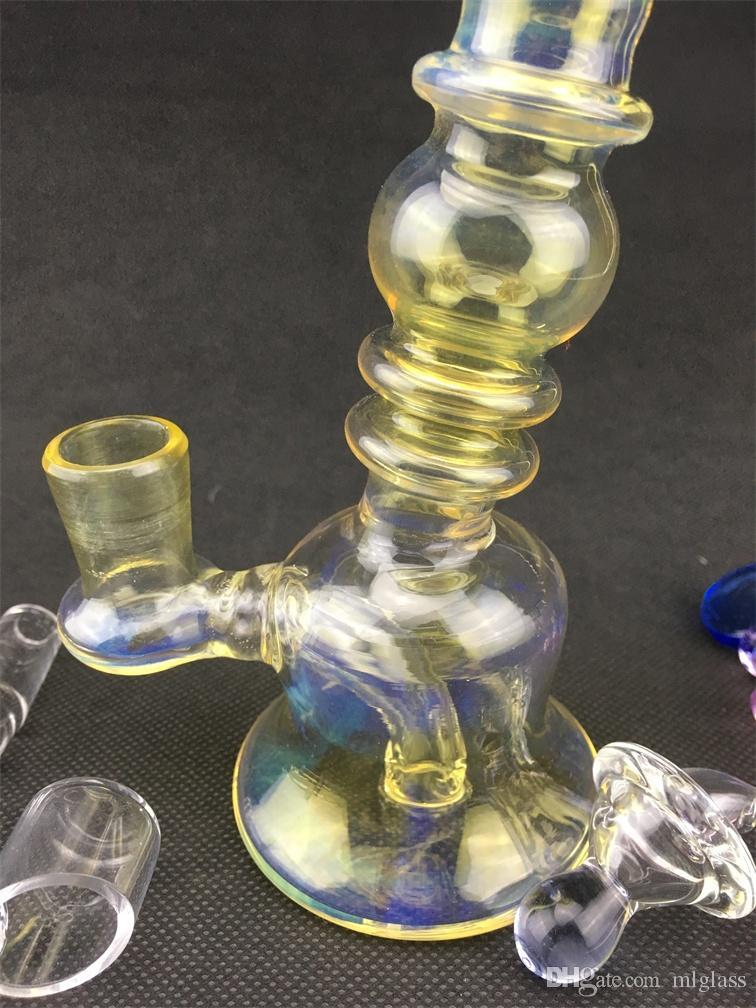 GL светло-желтый стеклянный стеклянный кальян нефтяная вышка для курительной трубы, бонг 14 мм совместное завод прямых ценовых уступков