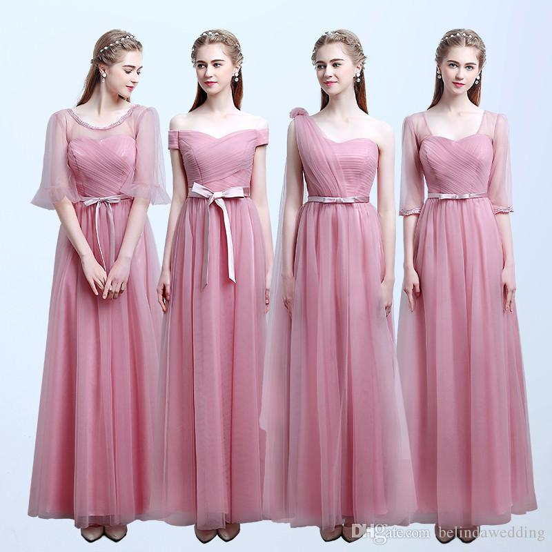 Cheap Bridesmaid Dresses Pink Blush Color Tulle Lace Long Maid Of ...