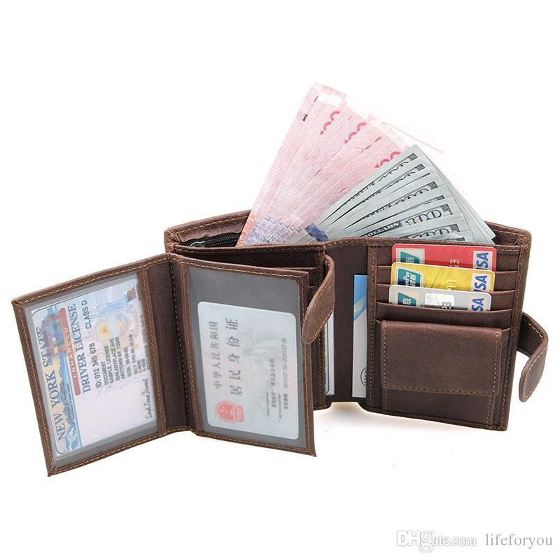 Denaro In Pelle Borsa Portafoglio SH NUOVO Portafogli Per Donna//Uomo Portafoglio Nero