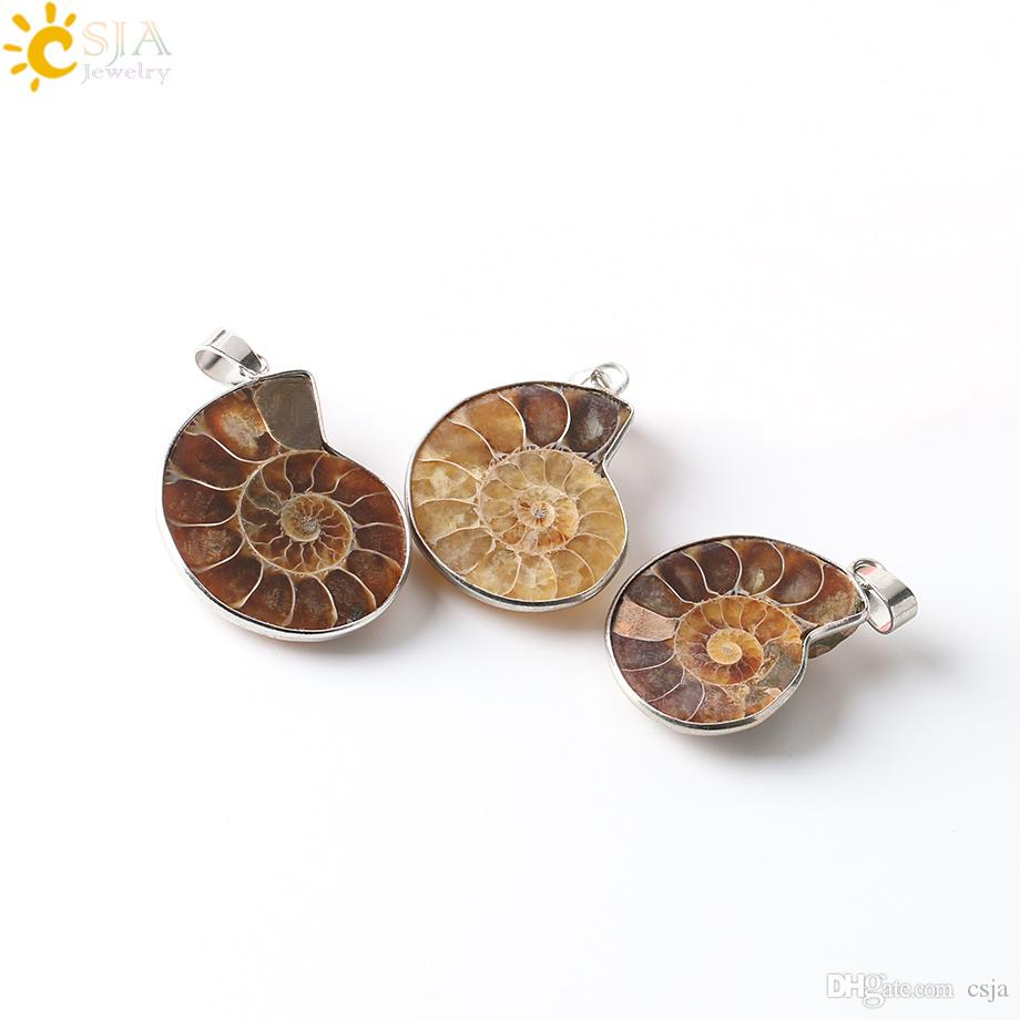 CSJA Natural Stone Ammonite Fossils Seashell Snail Pendants Ocean Reliquiae Conch Animal Statement Necklaces Charms Men Women Jewellery E252