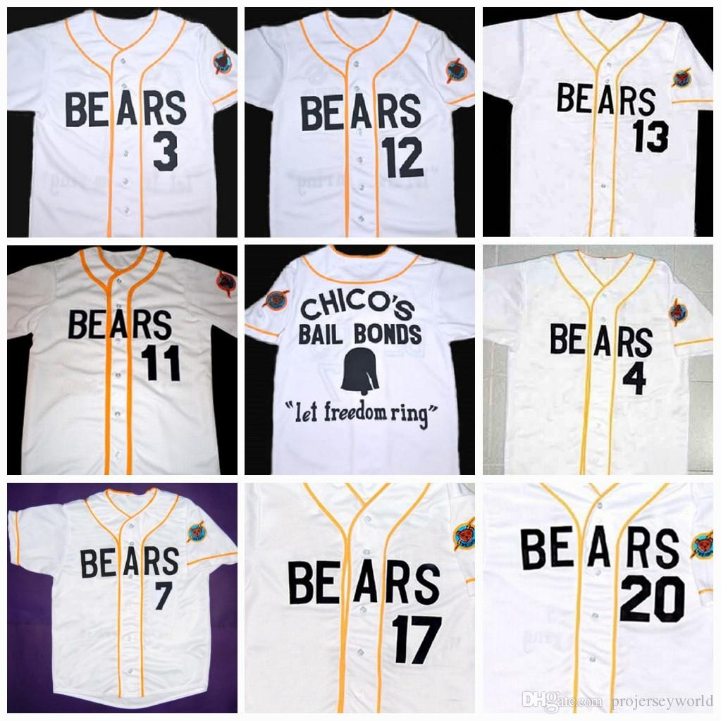 80d629bc373 Mens's Bad news BEARS Movie Jersey Button Down #3 Kelly Leak #12 Tanner  Boyle Chicos Bail Bonds Movie Baseball Jerseys