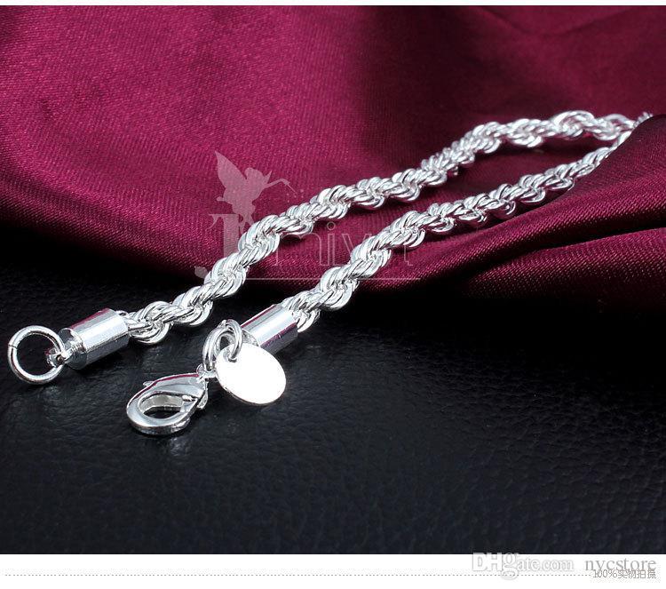 gros bracelets torsadés en argent 925 3mm / 4mm couples bracelets femmes bijoux de mode