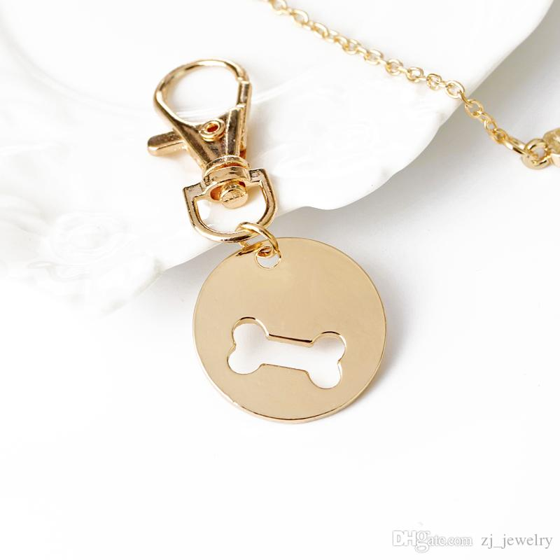 Gold Silver Color Dog Bone Matching Best Friends Charm Necklace&Keychain BFF Bones Friendship Pet Dog Lover Jewelry 8