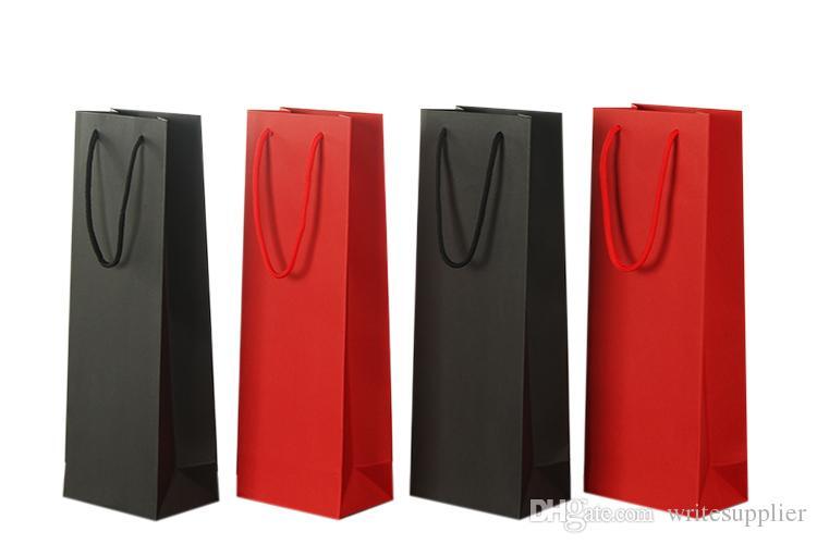 Paper Wine Bags Red Black Kraft Paper Hot-stamping logo Package Oliver Oil Champagne Bottle Carrier Gift Holder