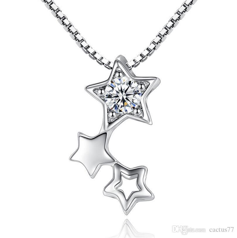 Platinum Plated Zircon Stars Pendant Necklace AAA+ CZ Crystal Geometry Hollow 3 stars Collar for Women White Gold color necklace Jewelry