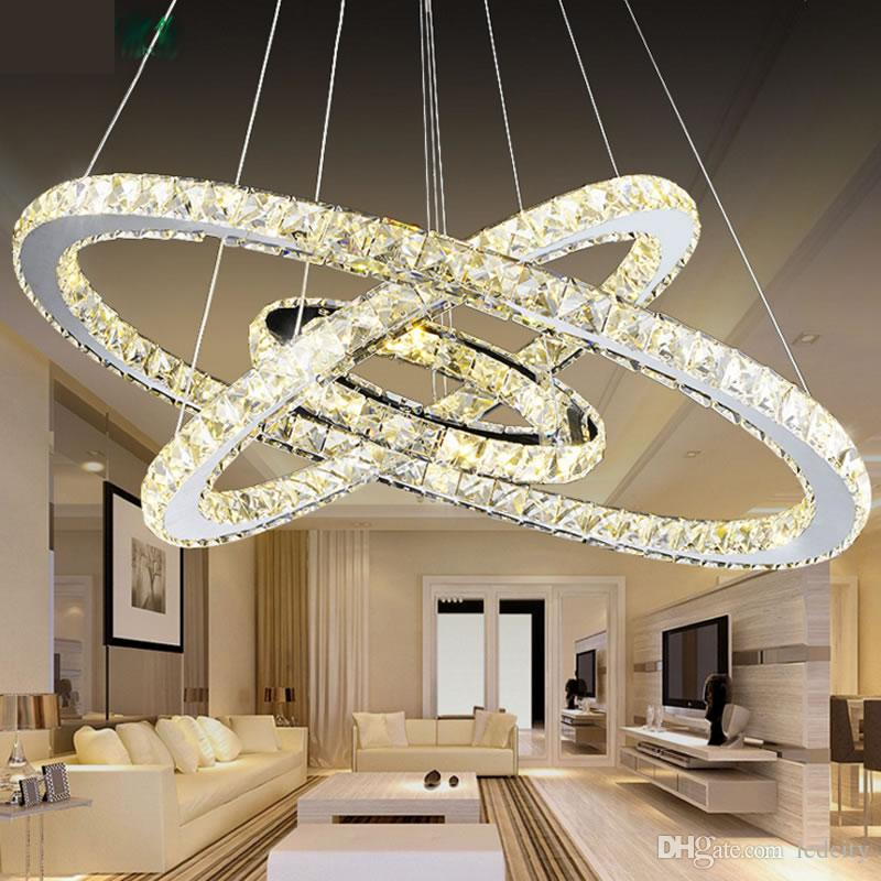 LED Chandelier 3 Ring Crystal Ring Chandelier Crystal Light Fixture Light  Suspension LED Lighting Circles Lamp Tri Tone Light Contemporary Chandelier  Antler ... 341bd37920
