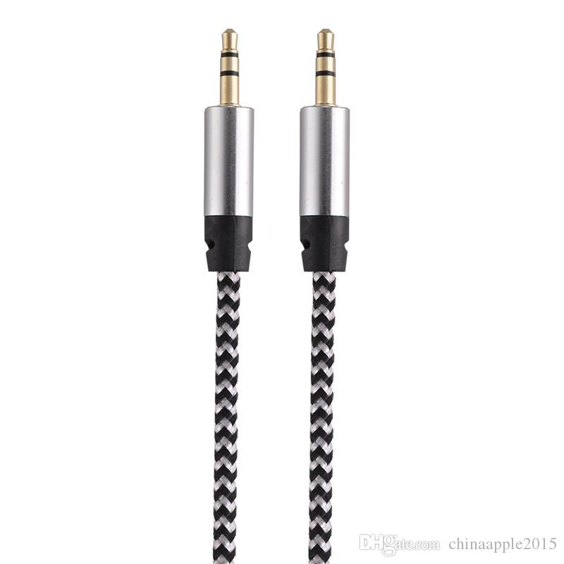 Car Audio AUX Extention Cable Nylon Braided 3ft 1M wired Auxiliary Stereo Jack 3.5mm Male Lead for Apple and Andrio Mobile Phone Speaker