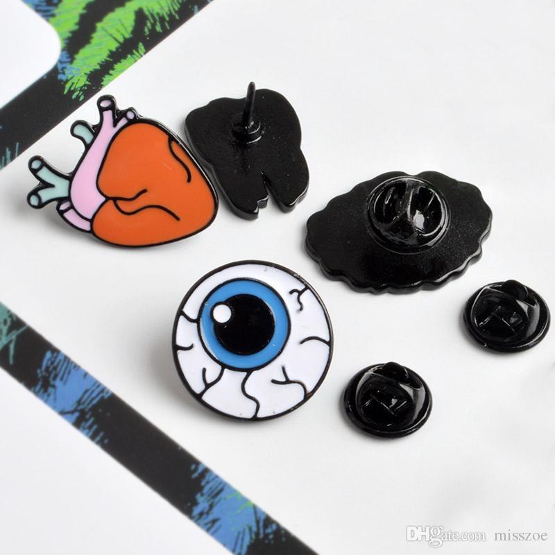 Karikatur-nette Organ Gehirn der Augen-Herz-Zahn-Metall-Brosche Button Pins Brosche Jeansjacke-Abzeichen Lustige Geschenk Art und Weise Schmuck