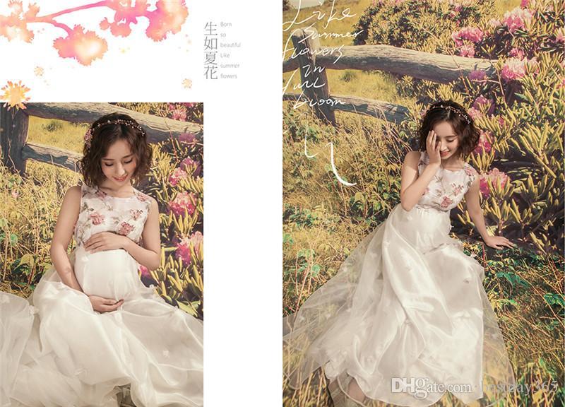 Женщин по беременности и родам платье материнства фотографии реквизит для фотосессий беременных женщин беременности женщин цветочные длинное платье одежда