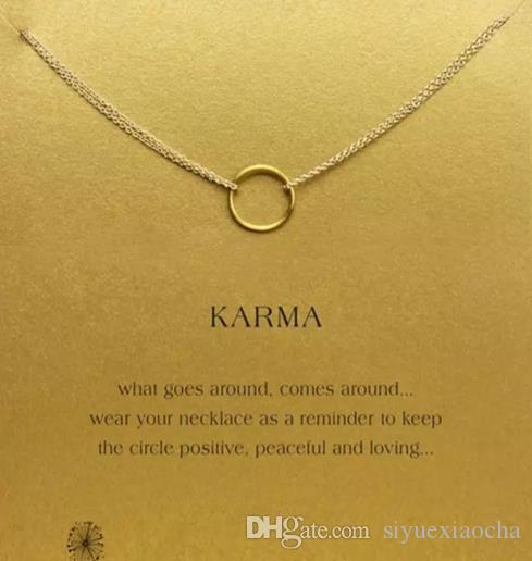 Mit karte niedliche Dogeared Halskette mit einem Kreisanhänger Karma, Silber- und Goldfarbe, kostenloser Versand und hoher Qualität.