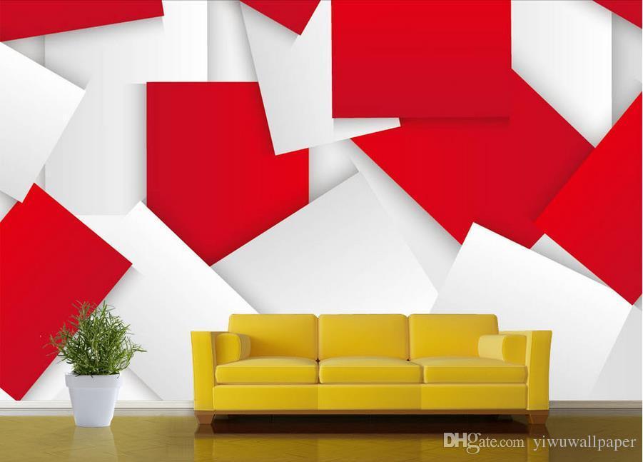 parede fundo vermelho moderno simples brilhante 3D mural 3d papel de parede 3d papéis de parede para TV pano de fundo