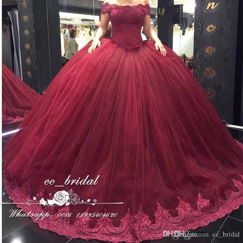 Burgundy Off the Shoulder Quinceanera Dresses 2017 With Appliques Lace  Sweet 16 Dress Plus Size Masquerade Ball Gowns Vestidos de 15 anos