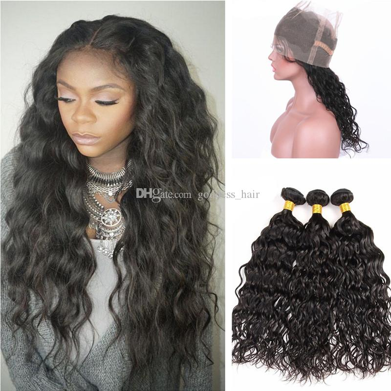 Malaysian Virgin Human Hair Weaves With Lace Band Frontal Closure