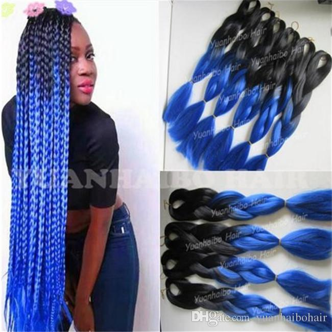 2019 Wholesale Cheap 20inch Black Blue Ombre Jumbo Braid Hair 1 Jet