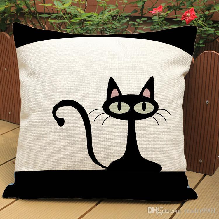 2017 Siyah ve Beyaz kedi sevimli kitty baskılı yastık kapak Ev Kanepe keten pamuk kadife yastık örtüsü 45 * 45 cm