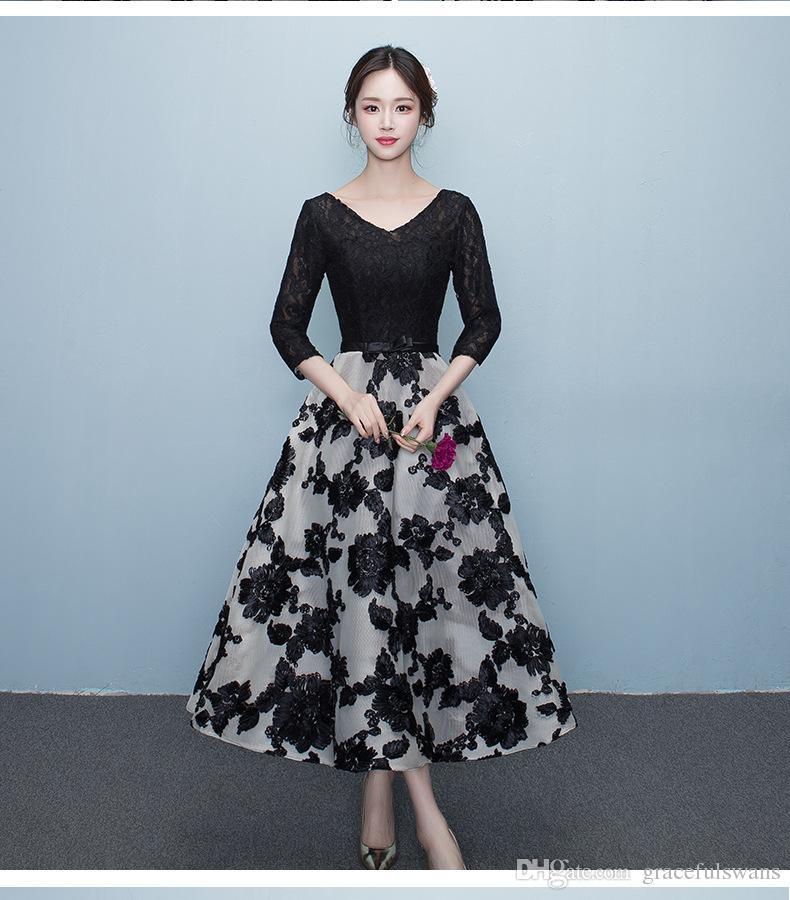 V Neck Half Sleeve Elegant Lace Formal Dresses For Girls Tea Length