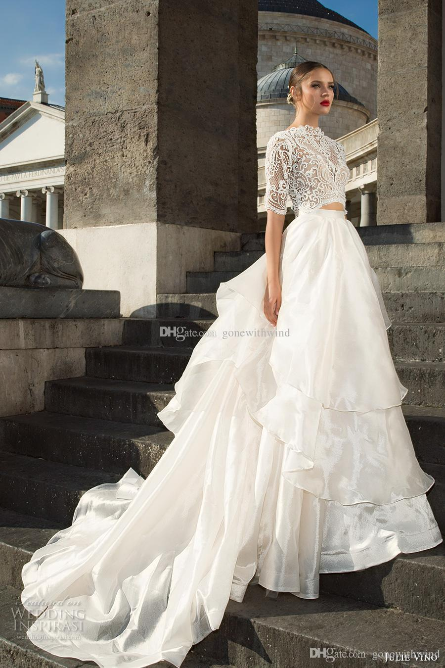 Royal Train Ball Gown Wedding Dresses 2017 Julie Vino Half Sleeves High Neck Lace Crop Top Princess Tiered Skirt V Back Sweetheart