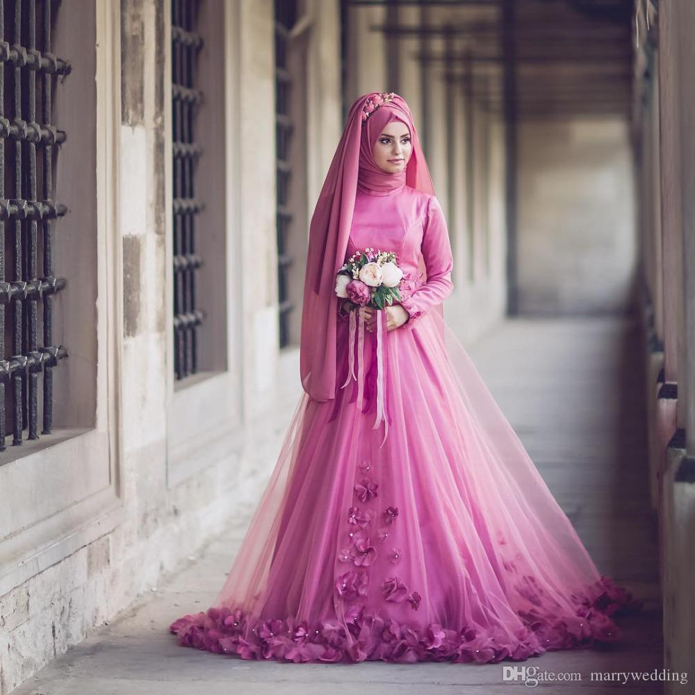 Discount 2017 New Arraival Muslim Wedding Dresses High Neck Handmade ...