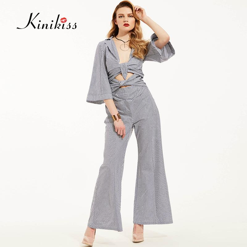 f92c3f68922 2019 Wholesale Kinikiss Women Rompers Jumpsuit 2017 Spring Blue Striped  Boot Cut Pockets Playsuits Female Lace Up Sexy Straight Bodysuit Summer  From ...