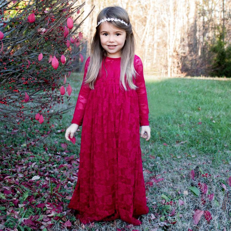 New Style Long Sleeve Rose Red Lace Princess Dress Flower Girl S Dresses  Sweet Girl Skirt 3T 8T Little Girls Wedding Dresses Modern Flower Girl  Dresses From ... 176565247c36