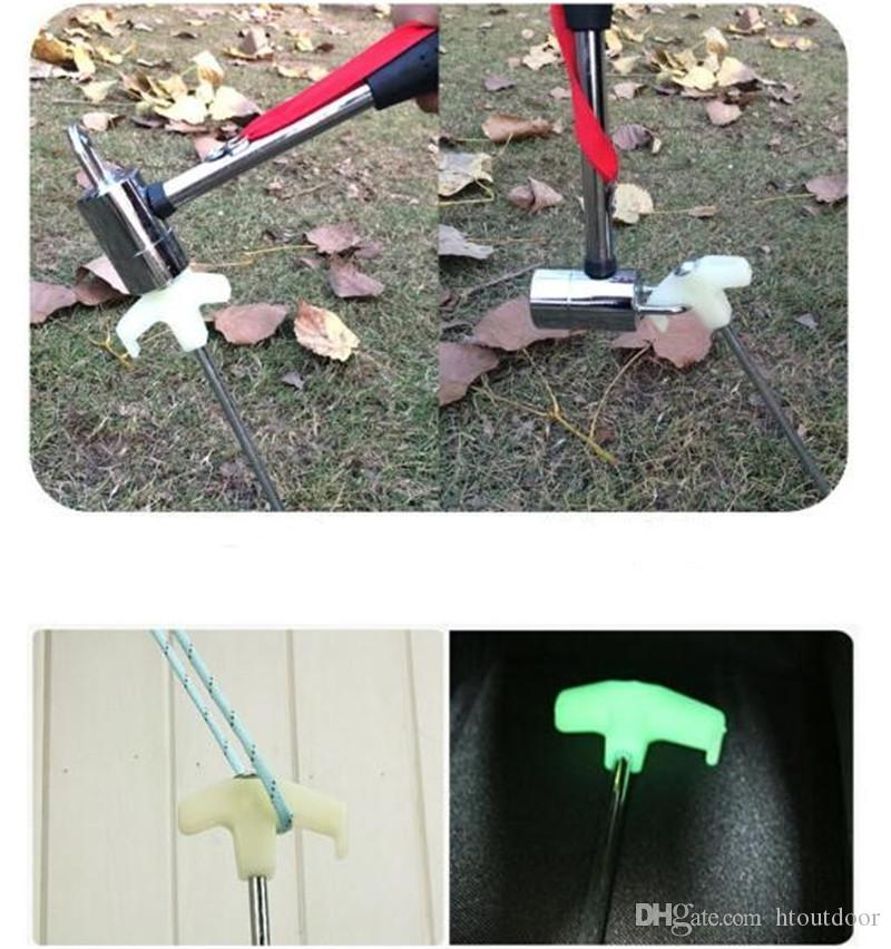 25cm Silver Outdoor Luminous Fluorescence Steel Forging Pegs Camping Screw Tent Pegs Nail Wind Rope