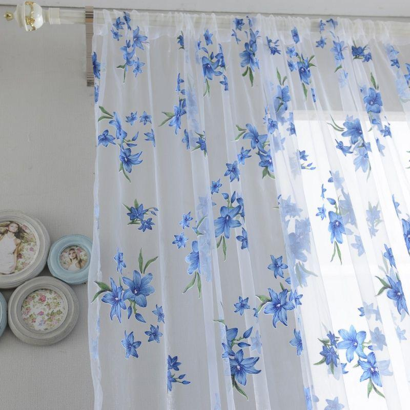 Ropical Floral Print Semi Sheer Curtains For Living Room Bedroom Kitchen Printed Flower Window And Tulle Cortinas Roman Small