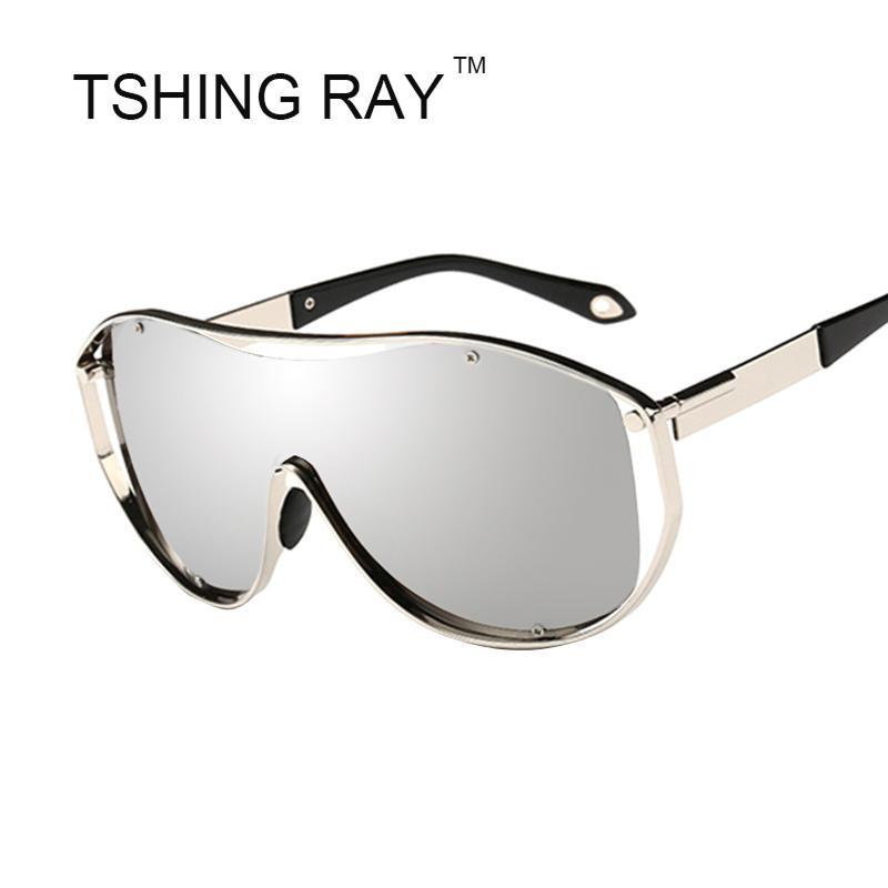9c3fa40150d7 Wholesale Shield Oversized Sunglasses Men Women Celebrity Hip Hop Metal  Frame Big Sun Glasses UV400 Male Female Stylish Goggle Heart Sunglasses  Circle ...