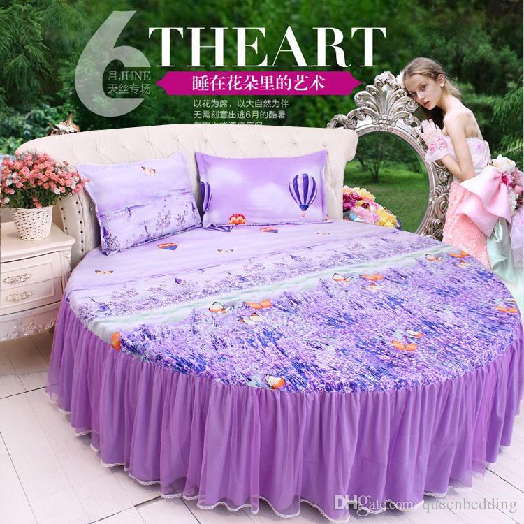 biancheria da letto angolo rotondo 4 pz set 200 cm 220 cm diametro rotondo lavanda copripiumino bedskirt federa re queen size beddingfree libero